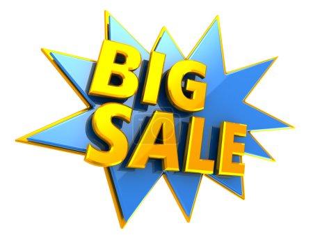 Photo pour Illustration 3d de grand signe de vente sur fond blanc - image libre de droit