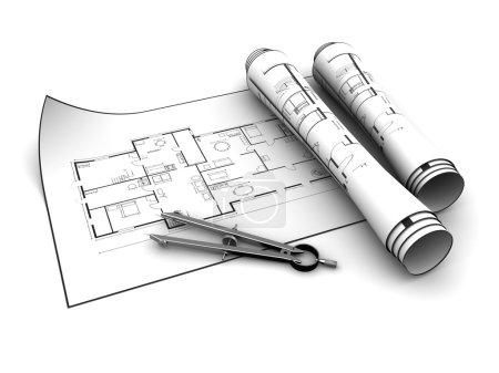 House blueprints over white