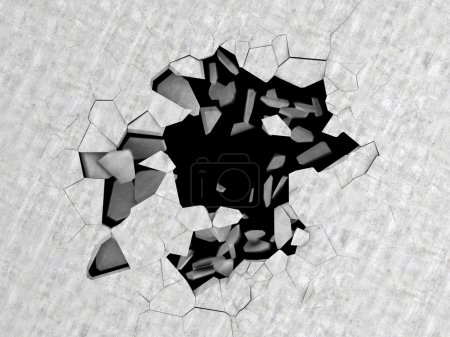 cracked hole in concrete floor