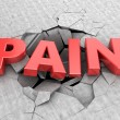 Abstract 3d illustration of text pain and cracks...