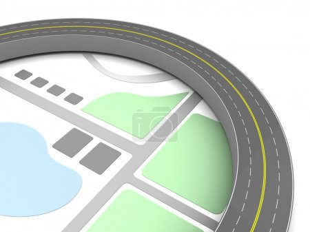asphalt road around map