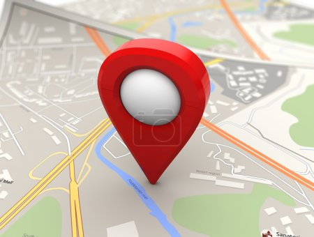 red pin over map background