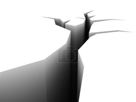 Photo pour Illustration 3D abstraite du concept de fissure de terre en fond blanc - image libre de droit
