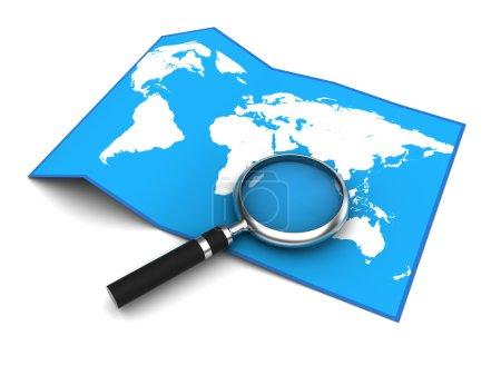 Photo pour Illustration 3D de la carte du monde et loupe - image libre de droit