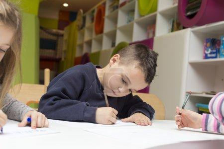 Children drawing at playroom