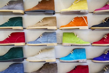 Photo for Variety of the colorful antelope leather shoes in the shop - Royalty Free Image