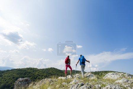 Couple hiking on the mountain