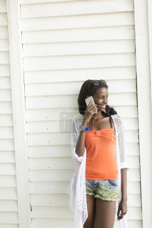 African woman with phone