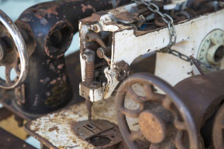 Photo for Old sewing machines details, close up - Royalty Free Image