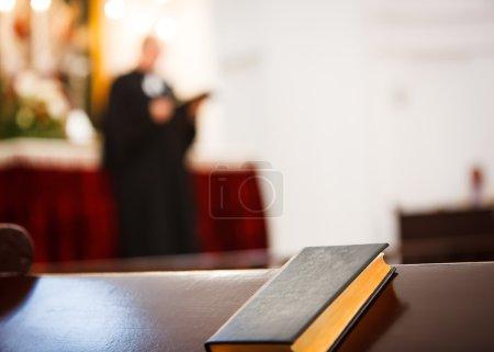 closed Bible in church