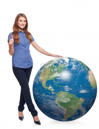 Woman in full length with earth globe