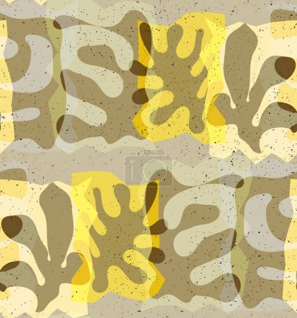 Illustration for Vector seamless pattern of organic Matisse shapes. Natural earthy colors floral underwater life. Abstract seaweed camouflage background. Trendy floating wavy geometry. Random layered hand drawn art. - Royalty Free Image