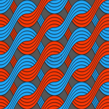 Red and blue embossed interlocking wavy lines