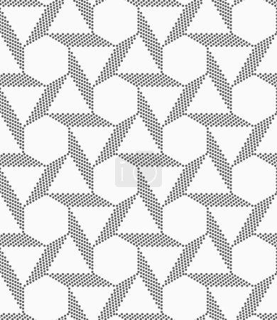 Illustration pour Modèle géométrique sans couture. Design géométrique abstrait gris. Conception monochrome plat.Blocs rayés monochromes formant des triangles et hexagones . - image libre de droit