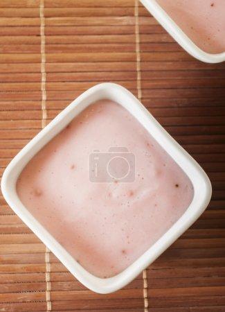 strawberry pudding close up