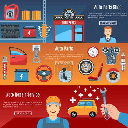 Illustration for Colorful Auto Service Flat Horizontal Banners Set. Auto Parts. Car Repair Service. Automobile Parts Shop. Auto Parts Objects And Web Elements Collection. Vector Illustration - Royalty Free Image