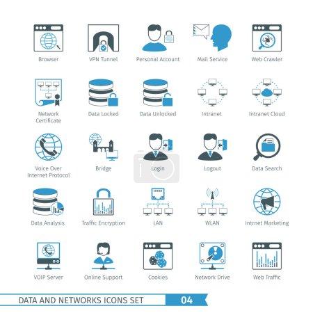 Illustration pour Ensemble d'icônes données et réseaux 04 - image libre de droit