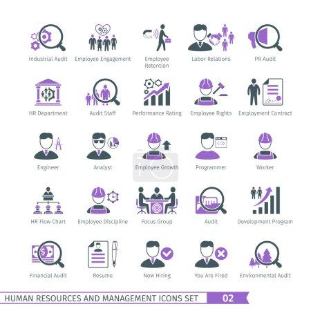 Illustration pour Ensemble d'icônes des ressources humaines et de gestion 02 - image libre de droit