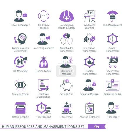 Illustration pour Ressources humaines et gestion icônes mis 04 - image libre de droit