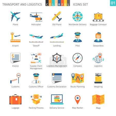 Illustration for Transport And Logistics Colorful Icons Set 01 - Royalty Free Image
