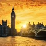 Big Ben and Westminster Bridge at dusk, London, UK...