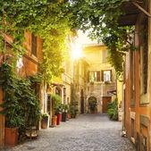 """Постер, картина, фотообои """"Вид старого улицы в районе Трастевере в Риме"""""""