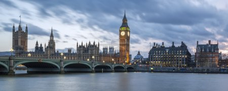 Photo pour Big Ben et House of Parliament at Night, Londres, vue panoramique. - image libre de droit