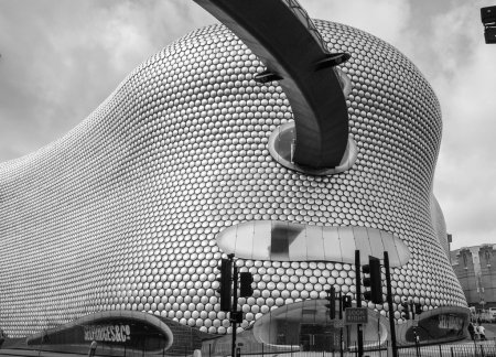 Black and white Bullring shopping and leisure complex in Birming