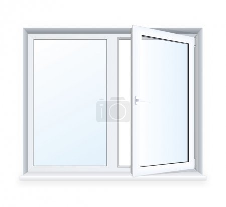 Illustration for Realistic open plastic window on white background. - Royalty Free Image