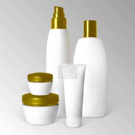Illustration pour Ensemble de produits cosmétiques en bouteilles et tubes. Illustration contient des mailles de gradient . - image libre de droit