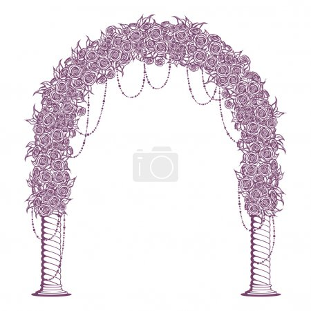 Illustration for Wedding Arch with columns and decoration of flowers roses. - Royalty Free Image