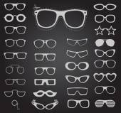 Set of sunglasses and glasses Vector illustration