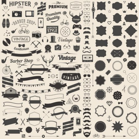 Illustration for Huge set of vintage styled design hipster icons. Vector signs and symbols templates for your design.The largest set of bicycle, phone, gadgets, sunglasses, mustache, anchor, ribbons infographcs element and other things. - Royalty Free Image