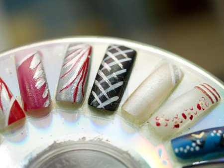 Artificial fingernails close-up