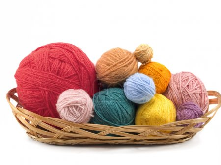 Yarn balls in  basket
