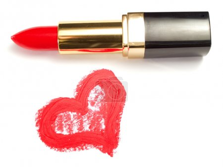 Lipstick and Heart on white