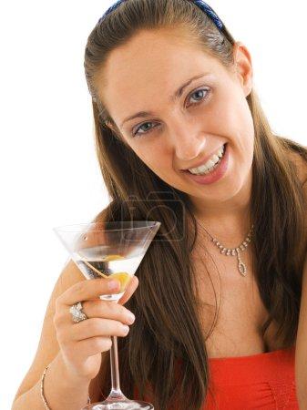 Photo pour Jeune belle femme avec martini - image libre de droit