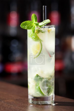 Photo for Cocktails Collection - Mojito in glass on bar - Royalty Free Image