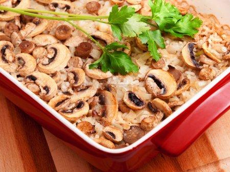 Rice and mushrooms casserole
