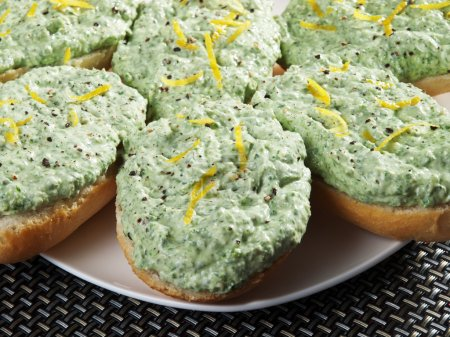 Photo for Sandwiches with mixed ricotta and spinach, very healthy breakfast - Royalty Free Image