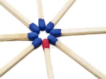 One different match stick