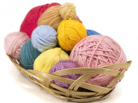 Yarn in a plate on background,close up...