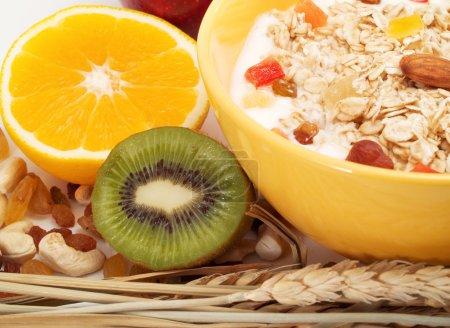 Healthy breakfast on background