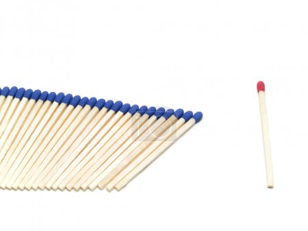 Photo for One different match stick on background,close up - Royalty Free Image