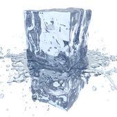 Cubo di ghiaccio con acqua splash, 3d rendering
