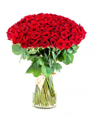 huge bouquet of red roses in a vase