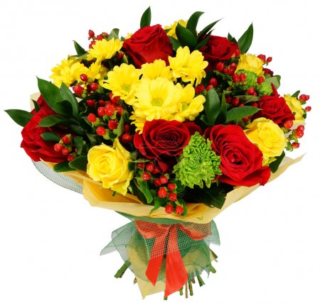 Bouquet of chrysanthemums, red rose and hypericum...