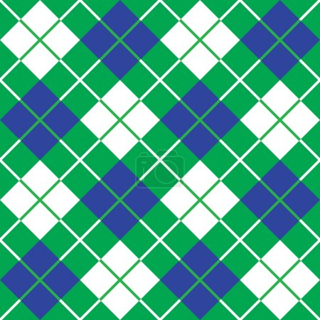 Bias Plaid Pattern in Blue and Green