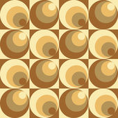 Retro-styled abstract seamless pattern of circles within circles and squares in brown and yellow