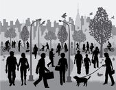 Vector illustration of silhouettes of ordinary people walking in an urban park with a generic city in the background